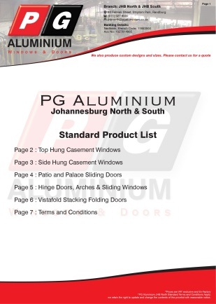PGAJHBN - Std Pricelist Page 1 - Front Page
