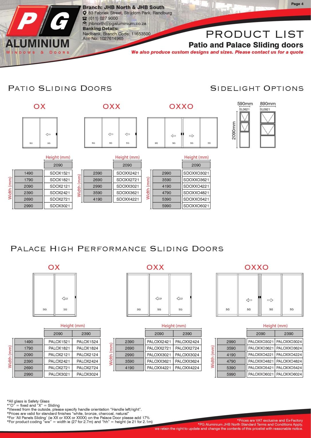 PGAJHBN - Std Product List Page 4 - Sliding Doors