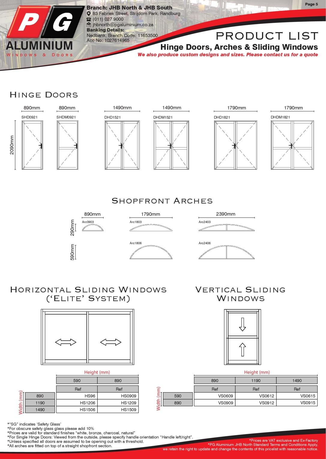 PGAJHBN - Std Product List Page 5 -HingeDoors,Arches,Sliding Windows